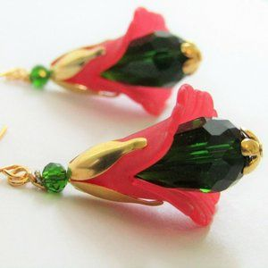Red Lucite Flower Faceted Green Crystal Earrings